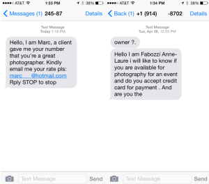 Photographer Text Scams