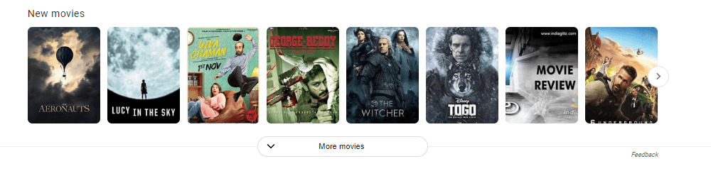 SERP Carousel Listing for Movies