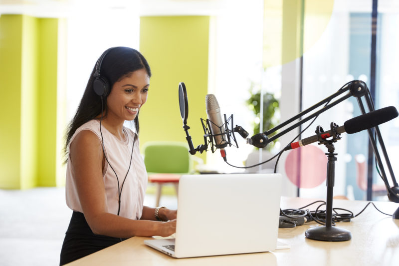 podcast advertising woman recording